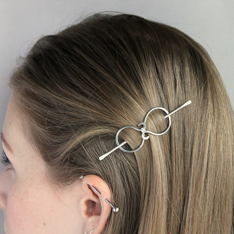 Tiny Copper or Silver Hair Barrette Hair Slide for Women Handmade with Copper Crystal Gift for Her Small Hair Clip for Thin or Fine Hair