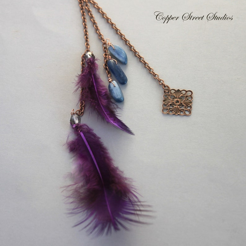 Festival Clip in Hair Jewelry with Purple Feathers Hair Pendant Charm Blue Kyanite Stones and Floral Copper Connector Bun Pin