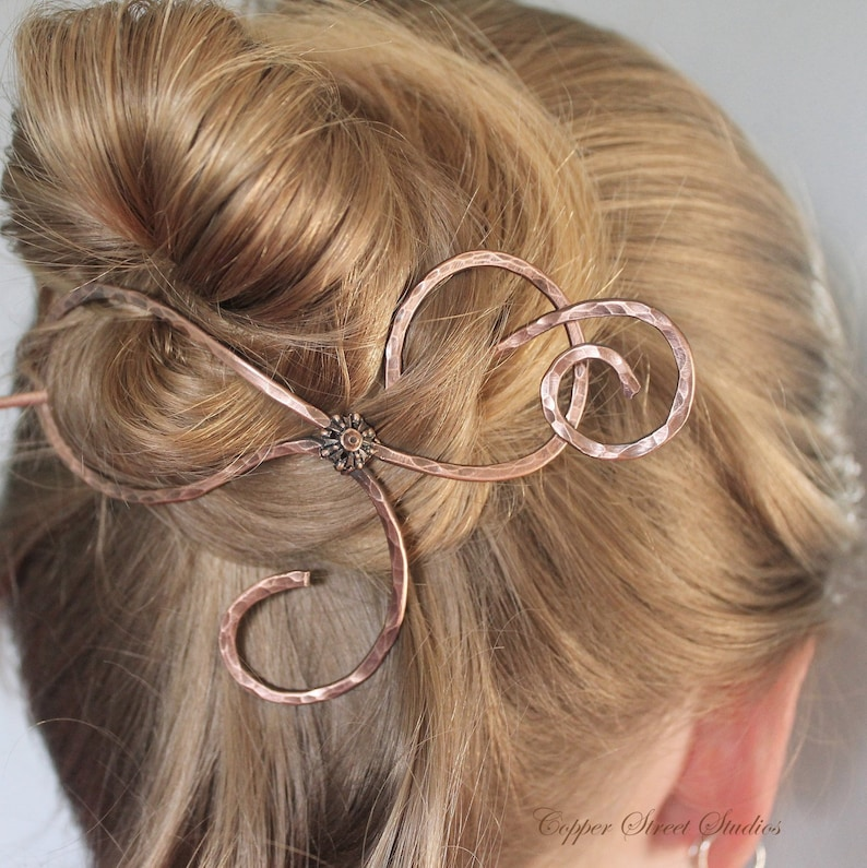 Thick Hair Clip for Women Handmade in Copper or Bronze All Copper