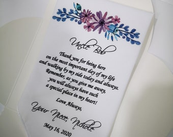 PRINTED Wedding Handkerchief 319 Gift for Uncle Uncle of the Bride Gift Personalized handkerchief-ViCop