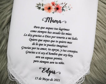 Spanish Parents Wedding Handkerchief For Mother of groom-Printed-Customized- Parents Wedding Gifts-HY1311