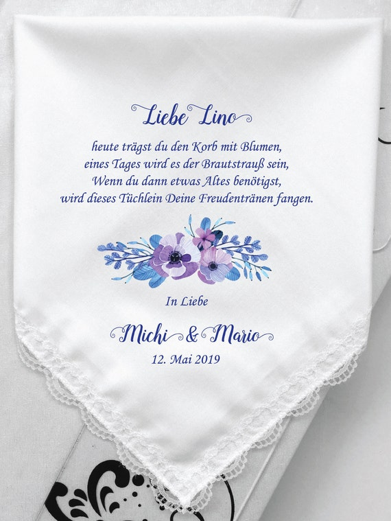 German Verses For Flower Girl Hanky Personalized Printed Etsy