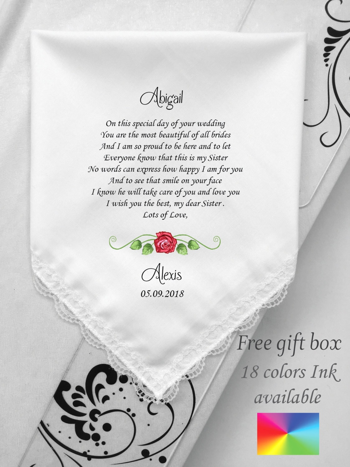 To My Sister Gifts On Her Wedding Day Wedding Handkerchief