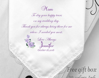 Mother Of the Bride Handkerchief-Wedding Handkerchief for Mom-Printed-Prints Hankie-Free Wedding Handkerchief Gift Box