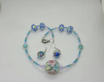 Floral glass bead and crystal necklace and earrings set (JS030)