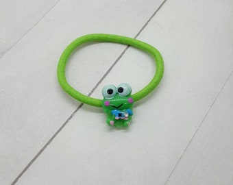 Frog ponytail holder, hair tie, hair elastic  (PH013)