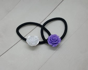 Rose ponytail holder, hair tie, hair elastic  (PH014)