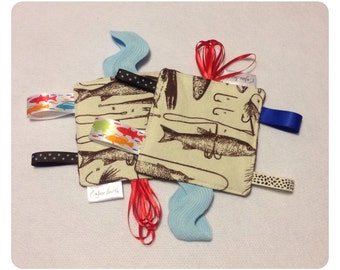 Fishing tag toy, sensory toy, baby crinkle paper, crinkle tag toy, fish baby toy, fishing teething toy, fishing baby