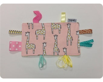 Crinkle tag toy, sensory toy, baby crinkle paper, crinkle toy, giraffe tag toy, giraffe baby toy, yellow minky