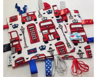 London tag toy, sensory crinkle toy, baby crinkle paper, crinkle tag toy, England baby toy, British baby bedding