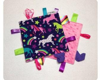 Unicorn tag toy, sensory crinkle toy, baby crinkle paper, crinkle tag toy, unicorn baby toy, unicorn bedding, rainbow baby