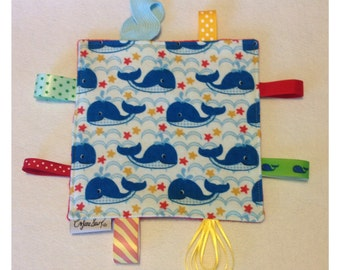 Whale tag toy, sensory toy, baby crinkle paper, crinkle tag toy, red minky toy, whale baby