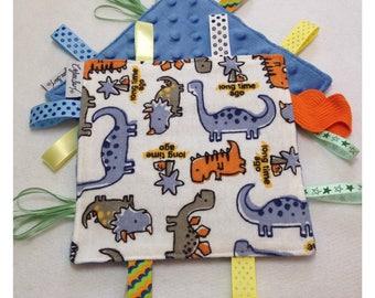Dinosaur tag toy, sensory crinkle toy, baby crinkle paper, crinkle tag toy, dinosaur baby toy, dinosaur bedding