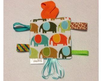 Elephant tag toy, sensory toy, baby crinkle paper, crinkle tag toy, teether, elephant teething toy, elephant baby