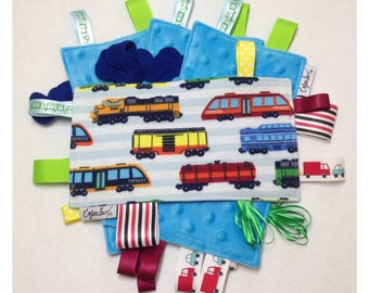 Train tag toy, sensory crinkle toy, baby crinkle paper, crinkle tag toy, train baby toy, train bedding, train baby