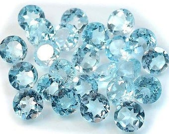 5pcs wholesale lot of 4mm round sky blue topaz