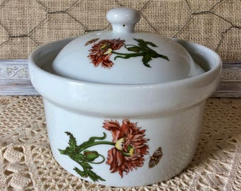 BIA Cordon Bleu Caroline Covered Casserole Baking/Serving Dish Poppies Morning Glories Forget-me-nots Butterflies Hand Painted Porcelain