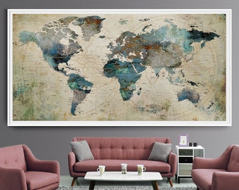 Extra large wall art etsy extra large wall art push pin world map art print large wall decor abstract painting world map poster extra large art world map l35 gumiabroncs Choice Image