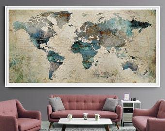 Charming Extra Large Wall Art Push Pin World Map Art Print, Large Wall Decor  Abstract Painting, World Map Poster, Extra Large Art World Map (L35)