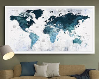 Push pin world map etsy large blue watercolor push pin world map art office wall decor art world map poster l89 gumiabroncs Images