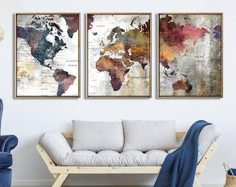 3 Piece Canvas World Map.3 Panel World Map Etsy