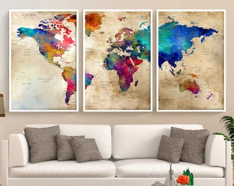 Large wall art push pin world map poster travel world map art world map large print travel world map wall art push pin map poster large wall decor wedding gift pushpin art print decor l93 nz13031 gumiabroncs Images