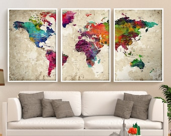 World Map Wall Art Large Wall Decor Extra Large Wall Art Etsy