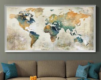 World Map Wall Art Etsy - Oversized map prints