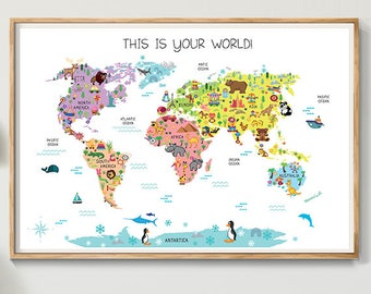Superior World Map Kids Room Art, Nursery Art, Nursery Print, Kids Room Print,  Animal Art, Nursery Poster Wall Art, Map Of The World Poster (N01)