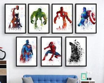 Superhero decor, Super hero wall art, Superhero room decor, Christmas gifts, gift for kids, Superhero Poster, Wall Art, avengers art (340)