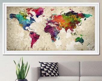 Push pin world map,  Large Push Pin ,Travel World map, World map poster, Push pin travel map, Push pin map, Art Print PushPin, Wall Art (L1)