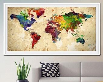 World map push pin, Push Pin Travel Map, Wall Art, World Map, Push Pin World Map, World Map Poster, Home Decor, World Map Print (L12)
