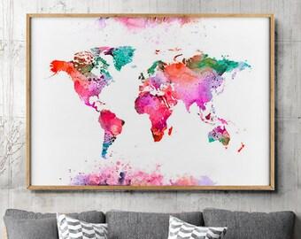 World map pastel etsy uk gumiabroncs Image collections