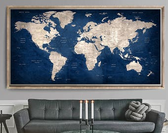 World map wall art | Etsy
