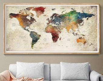 World map decor etsy world map wall art world map poster world map push pin world map print world map art world map watercolor world map decor l143 gumiabroncs Image collections
