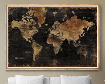 Black world map etsy huge classic black world map vintage elegant home decor home bedroom living room wall art map poster wall hanging l133 gumiabroncs Gallery