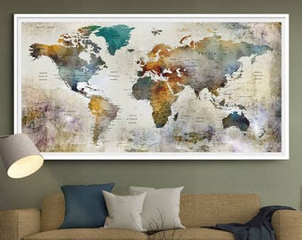 Large watercolor map world push pin travel cities wall black large watercolor world map print world map wall art detailed print push pin world gumiabroncs Image collections