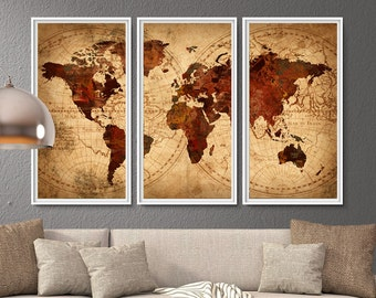 Van gogh world map poster print extra large map wall art world map antique map world map poster world map wall art vintage world gumiabroncs Images