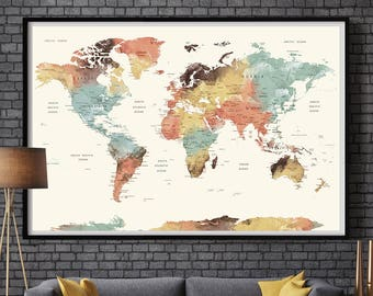 World Map Wall Art world map push pin Large watercolor wall art worldmap poster wall decor art print Living room and office decor (L101) & World map wall art | Etsy