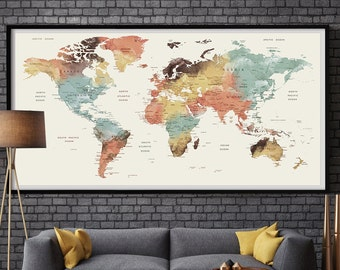 Extra large wall art watercolor prints decor by fineartcenter large wall art world map push pin print watercolor world map print pushpin world map trawel world map extra large worldmap art l65 gumiabroncs Image collections