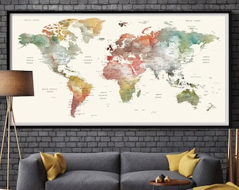 LARGE Wall Art World Map Push Pin Print / Watercolor World Map | Etsy