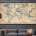World Map - Rustic Style | Poster Print | Old Style Wall Map | Map Decor (L155)