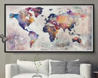 World Map Push Pin Etsy