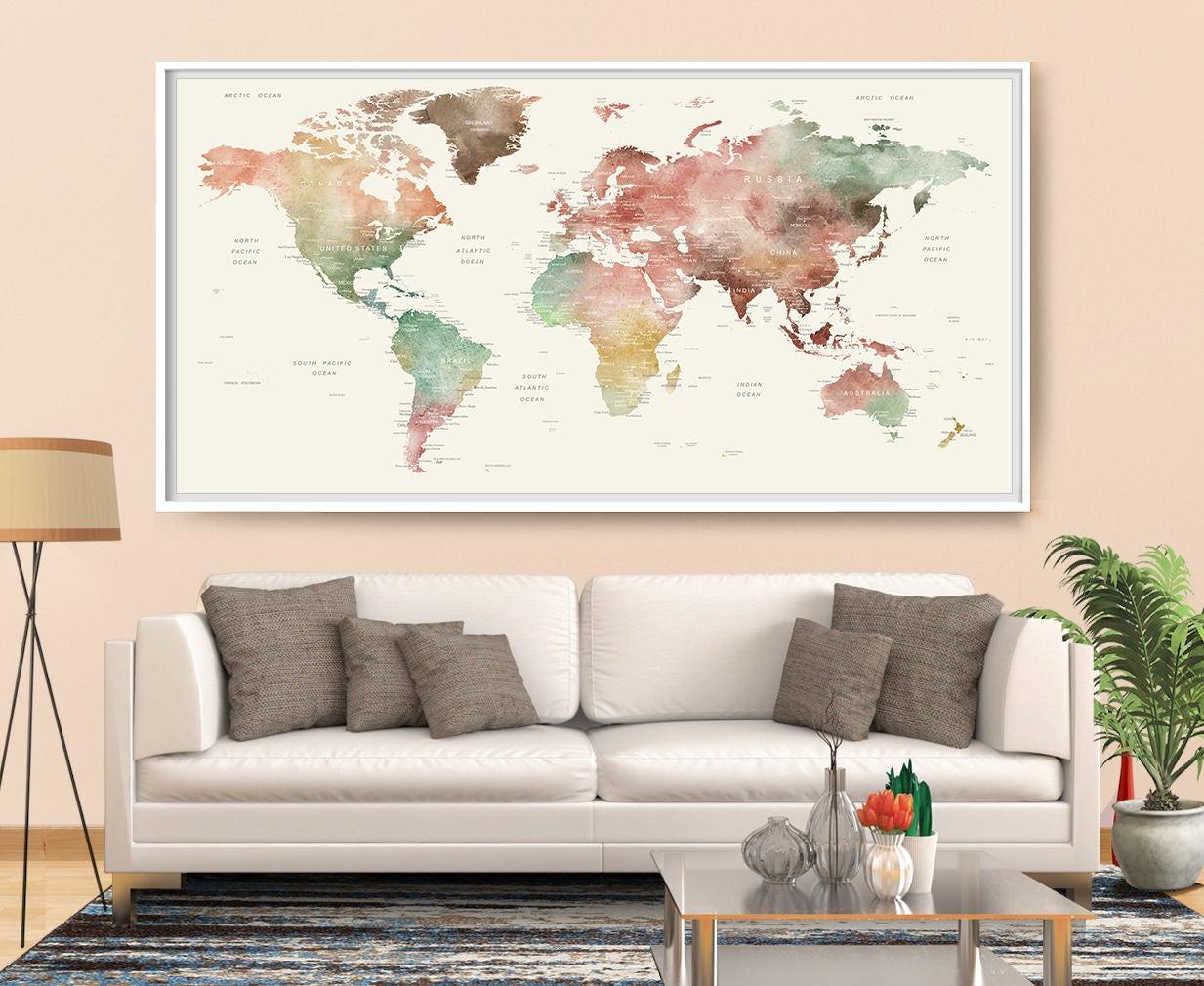 monde carte murale art aquarelle carte monde carte du. Black Bedroom Furniture Sets. Home Design Ideas
