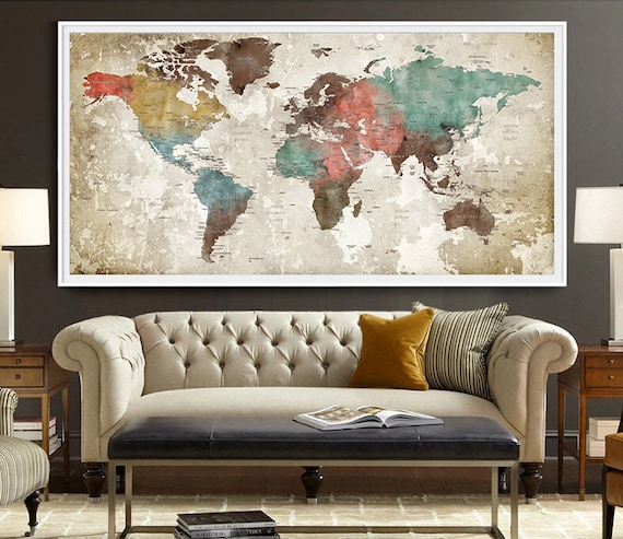 World map poster watercolor world map art print art etsy image 0 gumiabroncs Choice Image