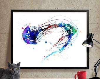 Jellyfish Art, Watercolor Painting, Watercolor Art, Jellyfish Print, Jellyfish Wall Art, Art Print, Home Decor, Poster, Wall Prints (199)
