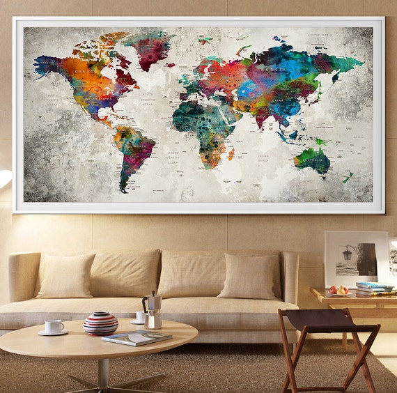 Large World Map Wall Art Print, Large World Map Art, Extra Large Wall Art,  watercolor push pin travel map poster (L41)