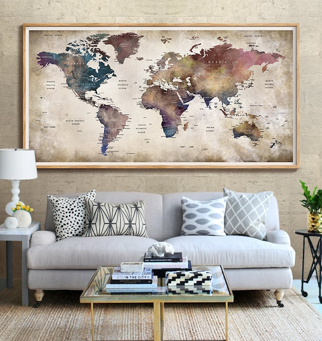 World Map Push Pin World Map Wall Art Large World Map World | Etsy