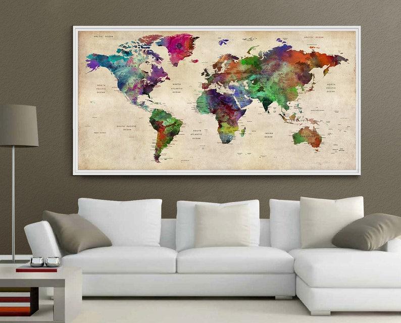Giant world map decorative push pin Large world travel wall   Etsy on