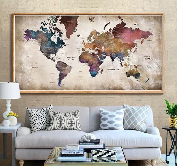 World Map Wall Art, Large World Map Poster Print, World Map Vintage, World  Map Art Print, World Map Push Pin, World Map Poster Map Art (206)